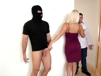 Robber in mask fucks slutty mouth of towheaded wife while her husband is in the next room. Gorgeous lady in beautiful dress needs passion so why such
