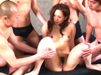Like a woman, this Japanese loves male attention and to increase it she gives hairy pussy to several Asian men at once. But men don't hurry to dr