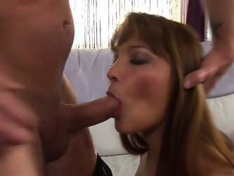 Look at this sexy brunette bimbo prepping her man for a fuck