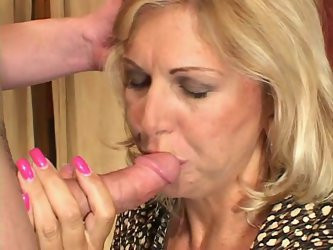 Debbie is a blonde mom who loves fucking young guys - it's kinda fresh blood to vampire. So she greedily sucks his succous dick taking deepthroat