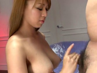 Light haired sexy Japanese bitch with stunning breasts stands on knees and sucks hairy balls and staff dick of that dude. Look at that steamy BJ in Ja