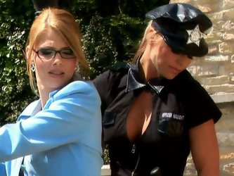 Voracious cop girl stops one bitch riding a sport car. Eventually she starts licking those big boobies and polishes bitch's ass from behind.