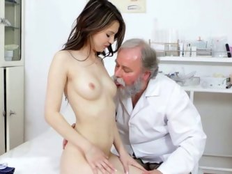 Pretty and sexy white babe loved to gets her twat fingered and licked by an old perv with beard. She then gets on her knees and gives a nice blowjob .