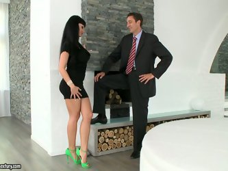 Mature businessman makes brunette beauty Aletta Ocean really horny. She blows his cock on her knees and then lets him eat her pink milf pussy.