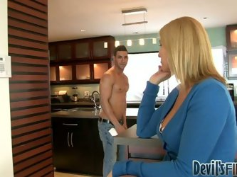 Horny blonde housewife Sonny Hicks seduce two buff studs. She sucks their huge cocks and lets them polish her soaking snatch in turn.
