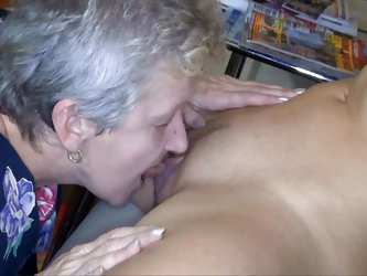 Grandma found her girl masturbating with a dildo and she just couldn't let her young slut struggle alone to reach orgasm. She gave her a hand, we