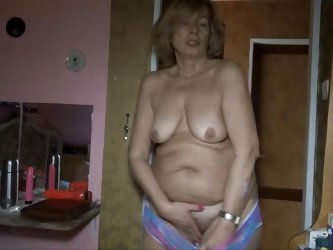 These old sluts are horny for some time together. The blonde lifts up her shirt and takes off her bra. Watch as she plays with her tits and then tease