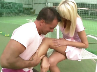 Tennis Instructor Fucks Blondie - ejaculation