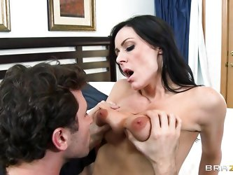 This milf is very angry with her man but when it comes to lust nothing can stop her. During a conversation he grabs her and starts kissing her. She co