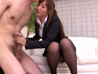 Office whore in fancy suit and black pantyhose pleases her boss. She gets undressed and then strokes that thick cock. She blows it and then takes a pu
