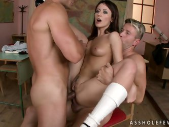 oh my fucking God bro. Nena gets her tight asshole penetrated with two massive dicks at the same time. I wonder how she will take a shit or walk after