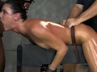 Leggy raven haired slut gets bound before blowing BBC and getting doggy fucked by white dude. Look at that nasty interracial BDSM 3 some in Sexually B