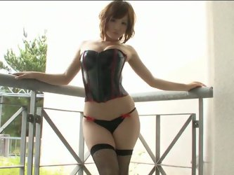 When Iyo Hanaki wears leather corset she looks like a fantastic super woman. Her super powers are her beauty and perfect round ass that is able to mes