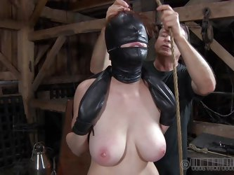 This fucking bitch gets what she deserves. All tied up and with her face covered with leather mask, she expects full pussy treatment. The mysterious m