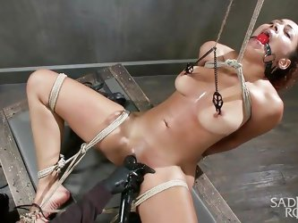 Serena is tied up in crazy positions by her sex master. Her legs are spread wide open and her mouth has a ball gag in it. She gets nipple clamps that