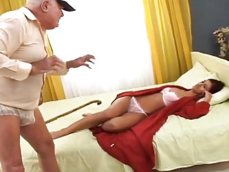 Grandpa looks at this beautiful, young redhead and pounces on her. The old fart grabs her greedily and the sweet redhead kneels with obedience so suck