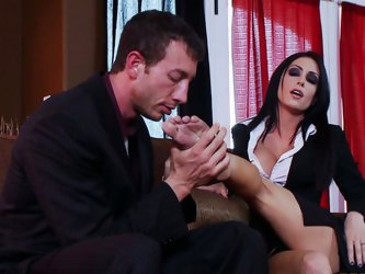 Her lover licks her feet making her excited as hell. Then she tops the long dick and rides it passionately. The guy squeezes her boobs while she is ju