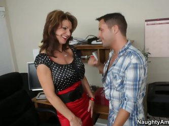 Being strict all the time this short haired brunette has frighten all her male employees. But one brave man enters her office to polish her vagina tho