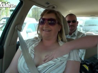 kinky fat slut with saggy big tits give tugjob in the car. She  is eager for a portion of sperm and swallows his dick deep in her throat. Enjoy  hot