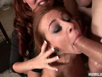 Some dirty bitches love to be brutally abused by bunch of angry cocks. Nasty redhead gets tied up and locked in the pet cage and then three fat cocks