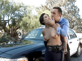 To serve and protect, that's exactly what police officer Selena does. She pulled over this guy and started to ask some questions. The bitch soon