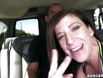 Sara Jay is in the back of the bang bus and it's cruising around looking for guys that want to fuck Sara. She sees a hunk and tells the driver to