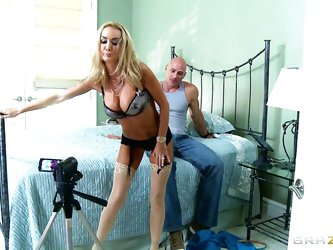 Watch this hot blonde milf Devon, a horny whore craving for dicks in her mouth for getting a hardcore. See toying with this bald guy, Johnny Sins and