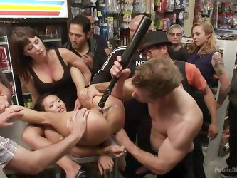 Alina is a hot little Asian slut getting her snatch banged hard while strangers crowd around and watch. The disgracing gets turned up a notch when the