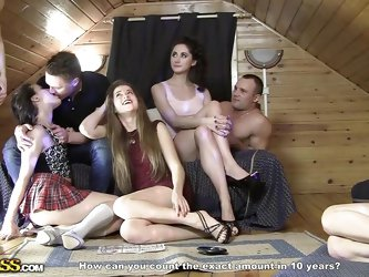 Aren't you interested in joining the sex party? The atmosphere in the chalet grows hotter as the feminine company gets rid of unnecessary clothes