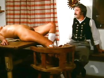 In this classic porno video, a German farmer is having supper with his wife and their neighbours. Once the neighbours leave, he throws his wife on the