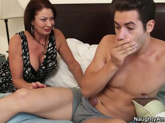 She is hussy milf who prefers sweet preppies and for this ones she gets into  bad one sweet meaty guy. She wakes him up after long fucking night with