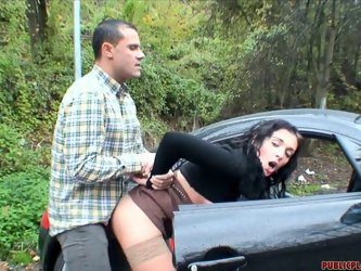 Rapacious young couple drives to the country where steamy chic gets on a horny dude for a ride in cowgirl style before he pokes her in standing pose f