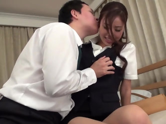 Tender creature Hana Yoshida wants to please her boss because needs salary increase. She catches the right moment for seduction. Babe makes love to hi