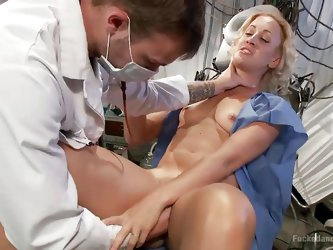Crazy doc Wilde is dealing with his patient, Dylan, in a very unprofessional way. he fingers her pussy really deep and then puts her on her knees and