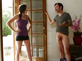 She walks in and right away Tommy drops his pants. She is shocked, that he would do such a thing, but she really wants to suck his dick. She gives him