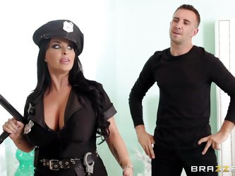 Busty cop Holly enters this house to look for a burglar. Although she's a cop first of all she's a whore and seeing that this dude has a coc