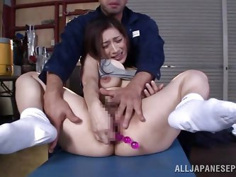 The Japanese brunette slut in the video has to handle three angry cocks. Watch her playing dirty with a dildo inserted first in her horny pussy and th
