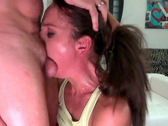 Saucy brunette chick gives sloppy blowjob. Then she stands on her all four lifting her ass up in the air. Kinky brunette chick takes massive dong in h
