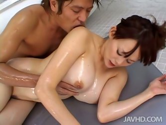 Brunette with pretty face is from Japan. This girlie gets horny in the soapy hot and foamy bath, which she takes with her spoiled boyfriend. Ardent gi