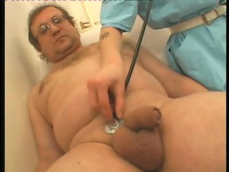 One old dude visits a doctor and surprisingly for him one sassy brunette nurse chick treats his tiny cock with a blowjob right in the doctor's of