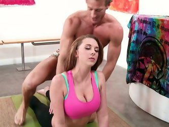 Brooke Wylde practices with her cocky yoga teacher. Through the miracle of time she gets totally naked exposing her huge tits and her massive ass. She