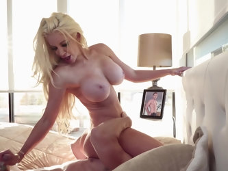 Busty blonde hottie Nicolette Shea prefers cowgirl sex position. Big dick of Johnny Sins is able to stimulate her shaved cunt to the full. Seasoned lo