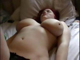 Red-Haired And Big Breasted Bimbo Gets Her Nerdy Husband To