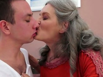 Allthough she is a lady at certain age, she isn't shy about her exclusive taste for young men. Cock crazed woman makes her lover worship her fat