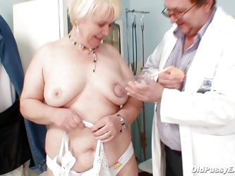 Bozena is a mature lady with big boobs, slutty face and big ass. After doctor asks her to undress he is using a sucking machine to make her nipples ha
