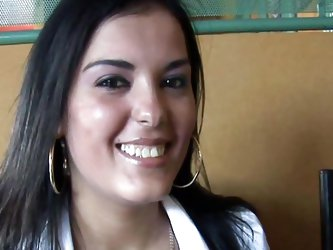 Beautiful latina chick is in a public restaurant and is in the mood for sex. She could be seen by other people at any time, yet the slut grabs her big
