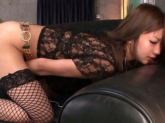 This gorgeous Asian chick in sexy fishnet stockings wants to reach new heights of pleasure with the help of her new vibrating egg.