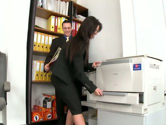 Office babe Black Angelika gets horny in the office. Her male colleague eats her fresh pussy and then she goes on her knees to give him blowjob.