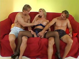 Blonde Milf Hooker In Lingerie Loves It When Two Guys Fuck H