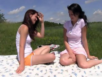 Teen Girlfriends Hook Up On A Picnic And Devour Pussy